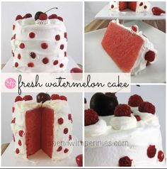 Fresh Watermelon Cake! Made with a whole watermelon! - Spend With Pennies