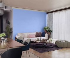 purples-pinks-colour-shade-asian-paints-7215 Home Paint Colour, Room Paint Colors, Purple Wall Paint, Purple Walls, Interior Walls, Modern Interior, Asian Paints Colours, Wall Texture Design, Kids Room Paint