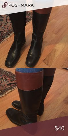 🍾 Anne taylor boots that are leather Black leather zipper on side and made in Brazil. In like new condition! Ann Taylor Shoes Heeled Boots