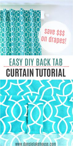 Learn how to sew your own drapes with this easy DIY back tab curtain tutorial. Back tab curtains drape perfectly and you don't need to find curtain rings to match your curtain rod. Save money and make your own curtains. Diy Art Projects, Diy Sewing Projects, Sewing Tutorials, No Sew Curtains, Custom Curtains, Unique Curtains, Outdoor Curtains, Home Curtains, How To Make Diy