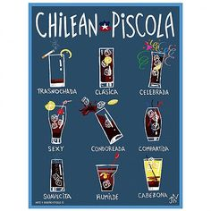 Afiche Chilean Piscola Chilean Recipes, Chilean Food, Cocktail Drinks, Cocktails, Pisco Sour, Media Literacy, Allrecipes, South America, Travel Tips