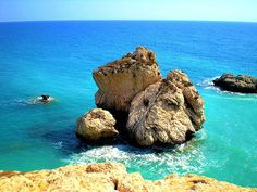 Aphrodite's Rock, Paphos Cyprus. Many places fight to be called Aphrodite's birthplace, where she emerged from the ocean of her creation...