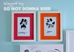 Paw Prints - do this with a frame with 2 openings, 1 for the paw print and 1 for a picture of Noah