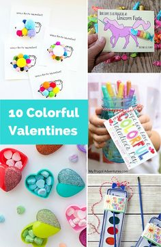 10 Colorful Valentine favors and printables for kids.