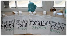 Fun & funky bridal party wedding totes via ilu.lily designs on Etsy. #weddings #weddingfavors #bridalparty #weddingtotesbags