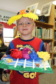 Ages 3-5. Our Lorax Hat and Truffula Tree Craft.