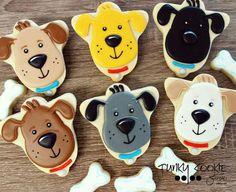 Dog Cookies by Jill FCS using an upside down bell cookie cutter Cat Cookies, Fancy Cookies, Cut Out Cookies, Cupcake Cookies, Sugar Cookies, Cupcakes, Cookies Decorados, Galletas Cookies, Cookie Frosting