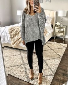 Casual Fall Outfits for Women- Winter Outfits for Women Legging Outfits, Komplette Outfits, Cute Fall Outfits, Fall Winter Outfits, Casual Outfits, Winter Sweater Outfits, Black Jeans Outfit Winter, Comfortable Outfits, Black Leggings Outfit Fall