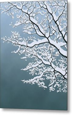 clear blue sky - Winter is coming - Moira Risen - wood cuts winter tree leafless bare silhouette twigs snow covered laden snowy branch branches digital landscape nature trees Winter Sky, Winter Trees, Tree Wall Art, Tree Art, Japanese Art Modern, Modern Art, Thing 1, Clear Blue Sky, Abstract Nature