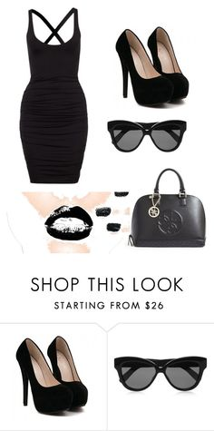 """""""all black everything"""" by dallassanders7 ❤ liked on Polyvore featuring Linda Farrow and GUESS"""