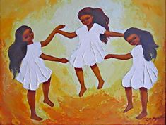 Naive Folk Vintage Painting Original Little Girls Dancing Barefoot Aquilar Little Girl Dancing, Little Girls, Art Paintings For Sale, Original Paintings, Dancing Barefoot, Orange Painting, Naive, Female Art, Folk Art