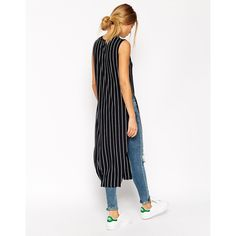 ASOS Longline Top in Stripe ($25) via Polyvore featuring tops, stripe top, pink top, longline top, pink striped top and striped top