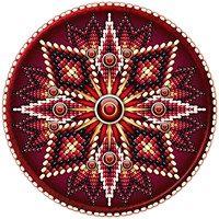 Native American style beadwork cross & sunburst rosette with red, burgundy, green & gold beading on a burgundy shield.