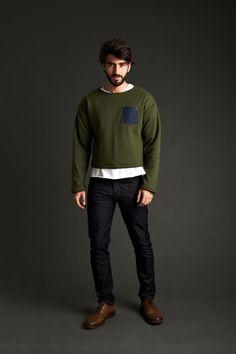 Green Pocket Sweater   Pocket T-Shirt   Skinny Jean