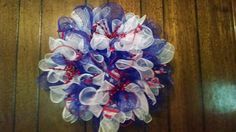 blue and white mesh ruffle wreath