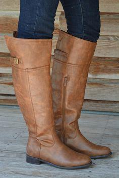 "RESTOCKED! ""Walk the Line"" Brown Cognac Riding Boots. www.shopsimplyme.com"