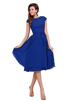Bess Bridal Women´s Cap Sleeve Knee Length Mother of the Bride Party Dress Size 18W US Royal Blue - Amazon.com