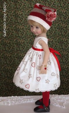 """Miss Cookie Elf"", a handmade OOAK ensemble made for Dianna Effner's Little Darling dolls, cindyricedesigns.com"