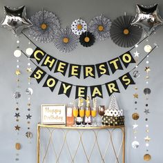 Birthday Decorations for Women or Men, Bday Anniversary Decorations, Cheers to 50 Years Banner – Birthday 2020 Diy Birthday Backdrop, Birthday Diy, Happy Birthday, Birthday Decor For Him, Birthday Cheers, Birthday Sayings, Wife Birthday, Birthday Images, Birthday Greetings