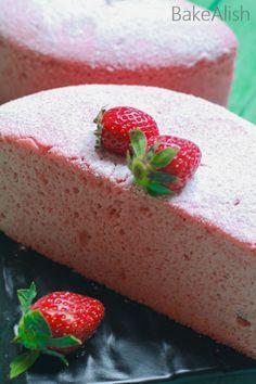 Strawberry Chiffon Cake Sponge Recipe By Bakealish Sponge Recipe, Sponge Cake Recipes, Easy Cake Recipes, Cupcake Recipes, Strawberry Chiffon Cake Recipe, Strawberry Sponge Cake, Strawberry Cake Recipes, Mug Cake Microwave, Cupcakes
