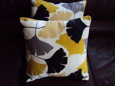 Yellow pillows mustard black grey gray fan pattern Cushion covers cases shams UK designer fabric Two 16 x 16 inch handmade