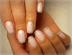 Chic French nails, Exquisite nails, Extravagant nails, French manicure with gold, French manicure with rhinestones, French millennium nails, French nails for the wedding party, French nails with golden patterns