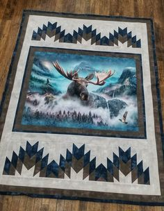 """Moose panel quilt """"Call of the wild"""" Fabric Panel Quilts, Lap Quilts, Scrappy Quilts, Baby Quilt Panels, Quilting Projects, Quilting Designs, Quilting Ideas, Craft Projects, Moose Quilt"""