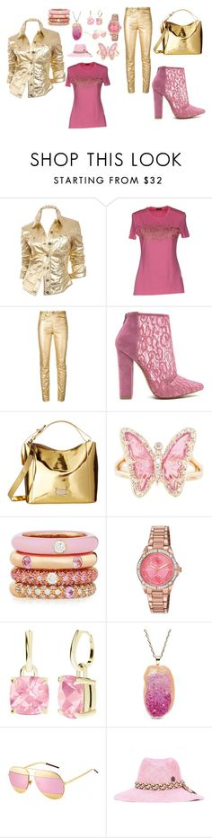 """""""goldie and pink"""" by jade-rene-brooks on Polyvore featuring Moschino, Versace, Étoile Isabel Marant, Frances Valentine, Luna Skye, Adolfo Courrier, Citizen, StyleRocks, Christian Dior and Maison Michel"""