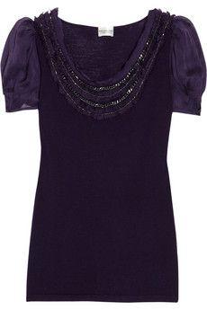Philosophy di Alberta Ferretti embellished fine-knit wool top