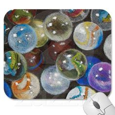 Color pencil drawing of many marbles; available at www.zazzle.com/joyart.
