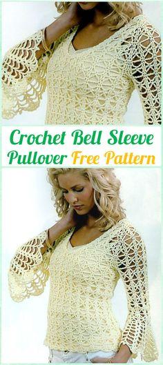 Crochet Bell Sleeve Pullover Summer Top Free Pattern - #Crochet Women Pullover Sweater Free Patterns