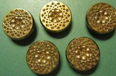 """5 - 7/8"""" STYLEMAKERS GOLD FLORAL DESIGN BLACK GLASS SHANK BUTTONS - Vtg Lot#24x"""