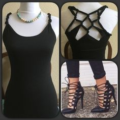 """""""Just In"""" Black Knotted Back Top Fun & sexy black sleeveless top with knotted back web design. Measures approximately 13.5"""" across bust lying flat, 37"""" top of strap down. Will stretch some. Material 95% rayon, 5% spandex. Please note this is a Junior Large same as women's XS/S. Sexy top that would go with anything. Throw on a jean jacket, cardigan or blazer and wear to work etc. Boutique Tops Tank Tops"""