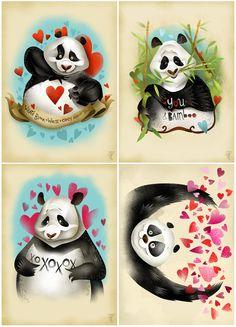 Panda valentines