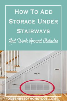 How To Add Storage Under Stairways even when there are in-wall obstacles! Easy to understand renovation and remodeling tips for more storage. Diy Furniture Projects, Easy Projects, Home Renovation, Home Remodeling, Hallway Inspiration, Electrical Tape, Home Management, Under Stairs, Hallway Decorating
