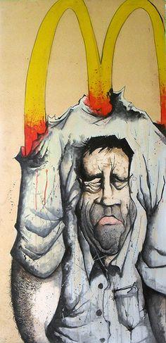 Graffiti - McFucked Estamos subyugados por publicidad barata y comida deplorable, no compramos productos, estamos comprando ideas (No Logo)