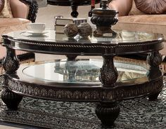 Homey Design HD-1208 Round Glass Coffee Table
