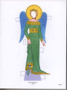 tom teriany angels paper dolls with glitter | Angelica