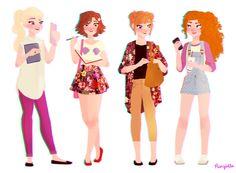 Modern: Elsa, Rapunzel, Anna and Merida.
