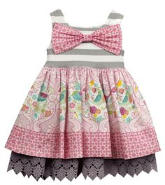 Counting Daisies by Rare Editions Ivory Blue Striped Floral Dress  2T 3T 4T