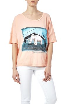 Soft salmon colored oversized boat neck tee with a light blue elephant graphic.  Elephant Tee by WoodenJacket. Clothing - Tops - Graphic Tees Clothing - Tops - Short Sleeve Clothing - Tops - Tees & Tanks Indiana