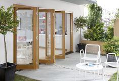 Falttüren mit Holz-Rahmen für Terrasse und Patio