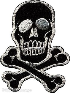 "Amazon.com: [Single Count] Custom and Unique (2.75"" Inches) Realistic Detailed Skull & Crossed Bones Pirate Logo Iron On Embroidered Applique Patch {Black & White Colors}: Arts, Crafts & Sewing"