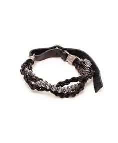 GOTI - Braided Leather and Aged Silver Bracelet