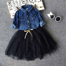 Toddler Girls Outfits denim shirt+tutu skirt set Baby girls Clothes Set,children Outwear Autumn Winter kids christmas outfits(China (Mainland))