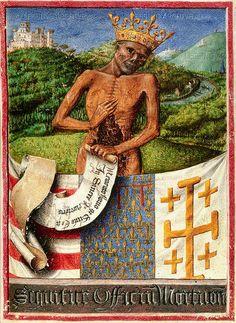 Crowned figure of Death, 1450- 1500. Medieval illuminated manuscripts 15TH century .