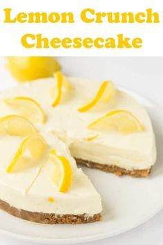 Lemon crunch cheesecake is a delicious no bake cheesecake recipe. It's simple, low cost and easy to make. With an amazing zingy refreshing lemon flavour all it requires is a bit of time to set in your fridge. From just 6 basic ingredients you're getting 8 Pudding Desserts, Köstliche Desserts, Healthy Dessert Recipes, Gourmet Recipes, Delicious Desserts, Easy Pudding Recipes, Best Pudding Recipe, Healthy Meals, Healthy Life