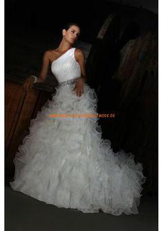 2013 Romantische Brautkleider aus Satin und Organza Einschulter mit Schleppe