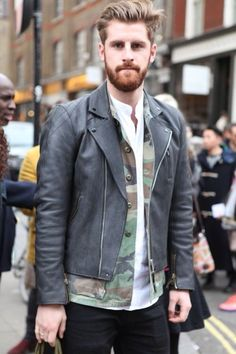Leather Biker and camouflage. Such a cool mix!