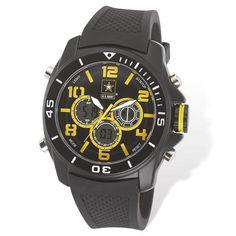 US Army Wrist Armor C24 Black Yellow Dial & Black Rubber Strap Watch